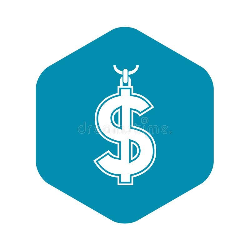 Collier d'ic?ne de symbole du dollar, style simple illustration stock