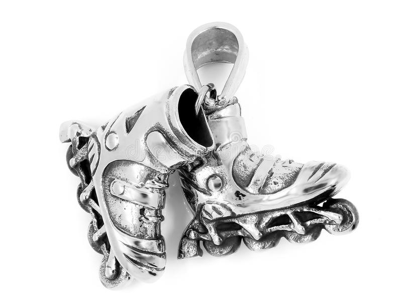 Collier de bijoux Pendant intégré de patin Couleur d'argent d'acier inoxydable photos stock