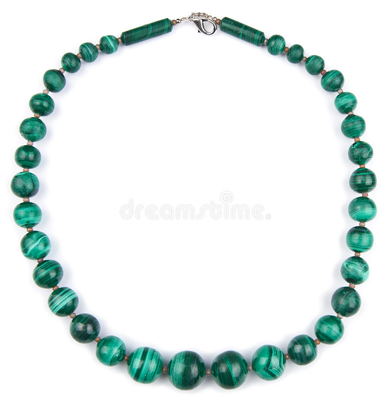 Collier de malachite d'isolement photos libres de droits