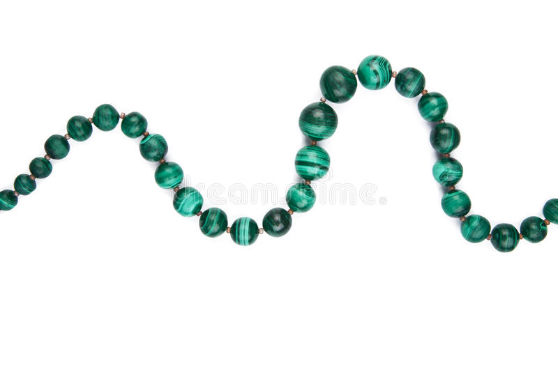Collier de malachite d'isolement photo libre de droits