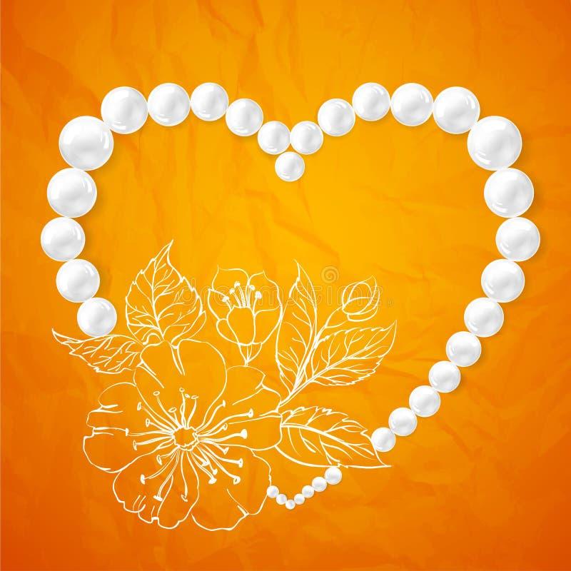 Collier de perle et une cerise en forme de coeur illustration libre de droits
