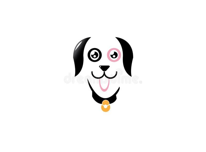 Collier de port de chien mignon heureux avec des cloches et de représentation langue pour la conception de logo illustration de vecteur