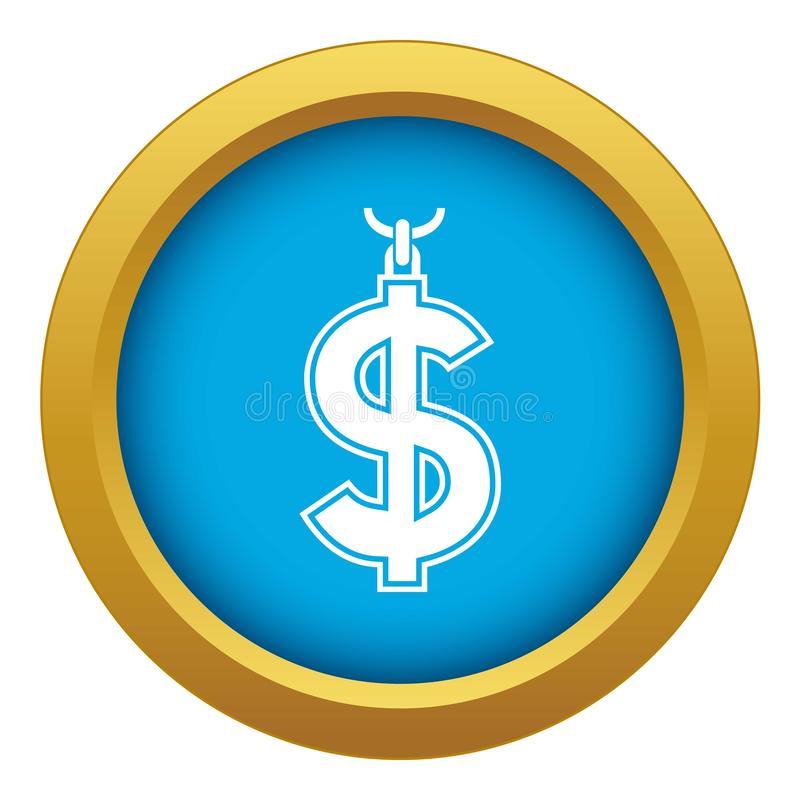 Collier de vecteur bleu d'icône de symbole du dollar d'isolement illustration libre de droits