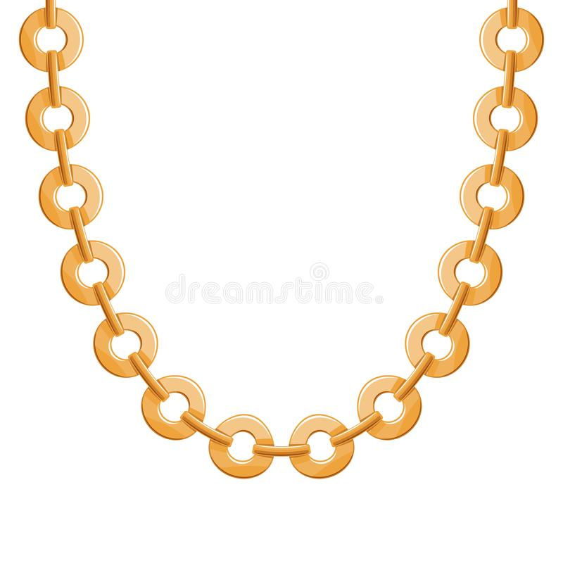 Collier ou bracelet métallique d'or à chaînes volumineux illustration stock