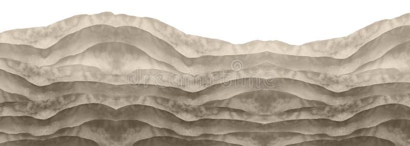 Collina in bianco e nero dell'acquerello, poggio, erba Deserto, sabbia Estate, paesaggio di autunno su fondo isolato bianco Terra illustrazione vettoriale