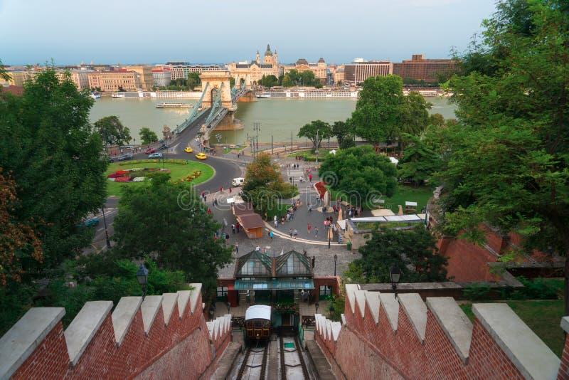 Collina del castello funicolare a Budapest Ungheria fotografia stock libera da diritti