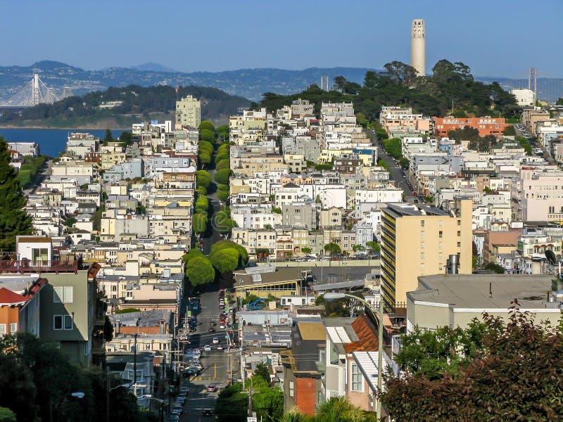 Collina del nord del telegrafo e della spiaggia, San Francisco fotografia stock libera da diritti