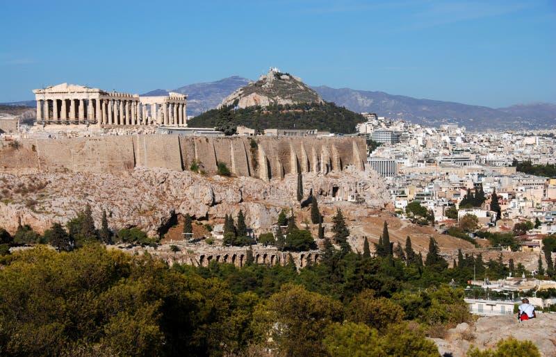 Collina dell'acropoli e di Atene fotografia stock