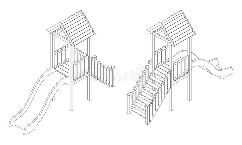 Collina di plastica con un tetto, disegno isometrico del ` s dei bambini di contorno di vettore in bianco e nero illustrazione vettoriale