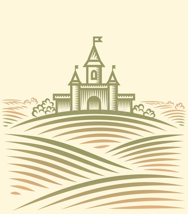Collina e castello illustrazione di stock