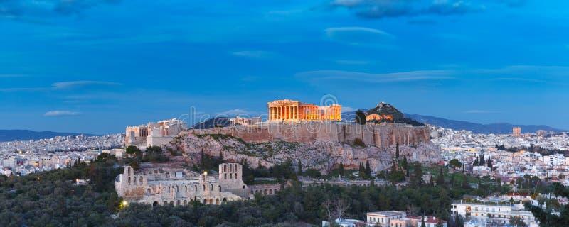 Collina e Partenone dell'acropoli a Atene, Grecia fotografia stock