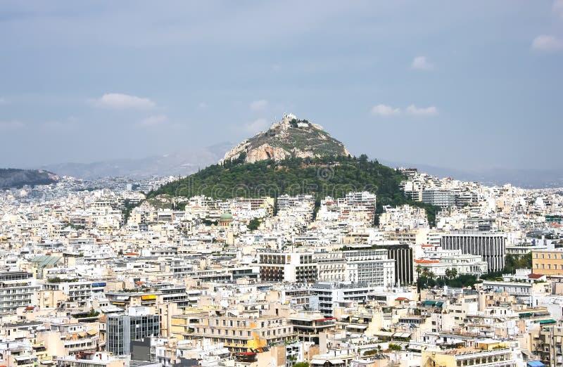 Collina Likavit Likavitos o Wolf Mountain nel centro di Athen fotografia stock