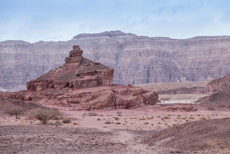 Collina a spirale nel parco nazionale di timna nell'Israele fotografia stock