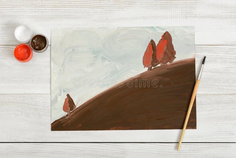 Colline avec des arbres peints dans la gouache sur la toile illustration libre de droits