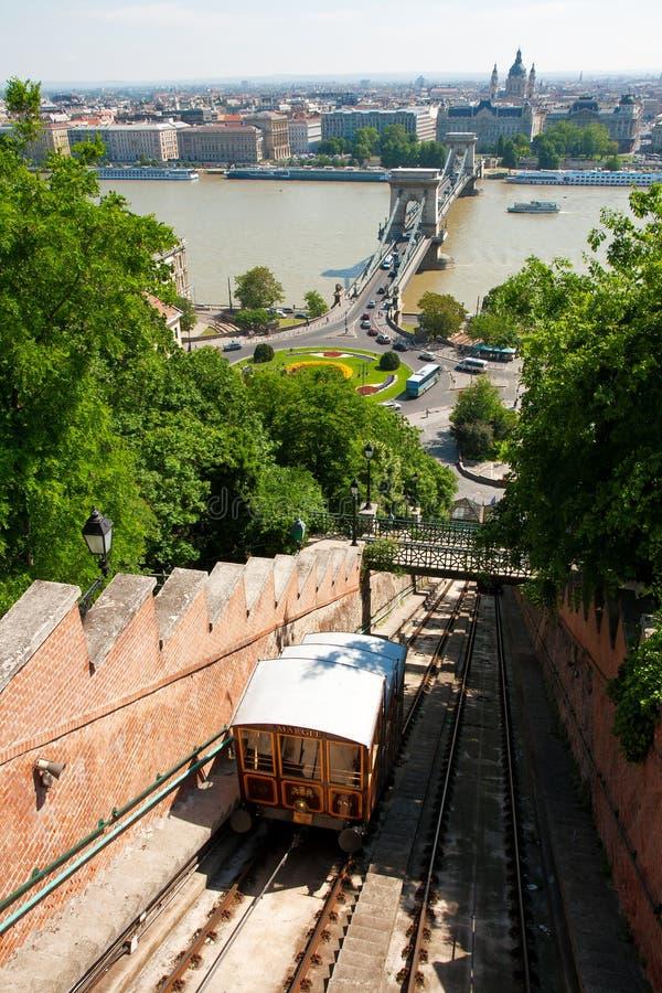 Colline de château de Budapest funiculaire photos stock