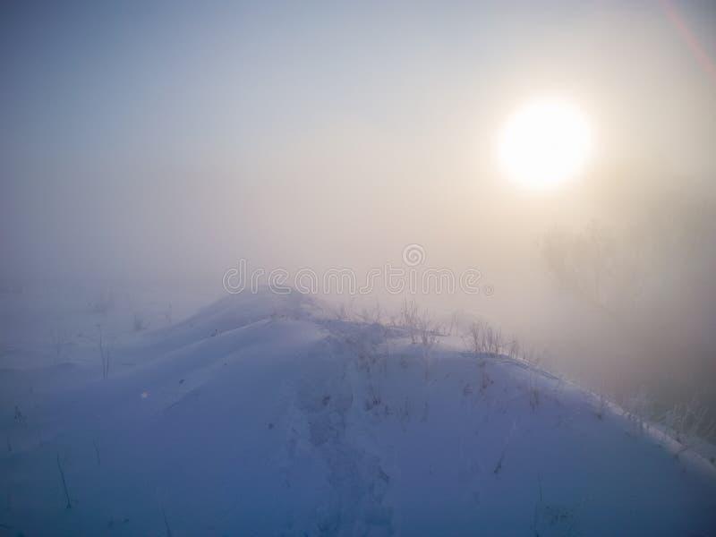 Colline de neige d'hiver avec des empreintes de pas dans la neige profonde au matin brumeux images stock