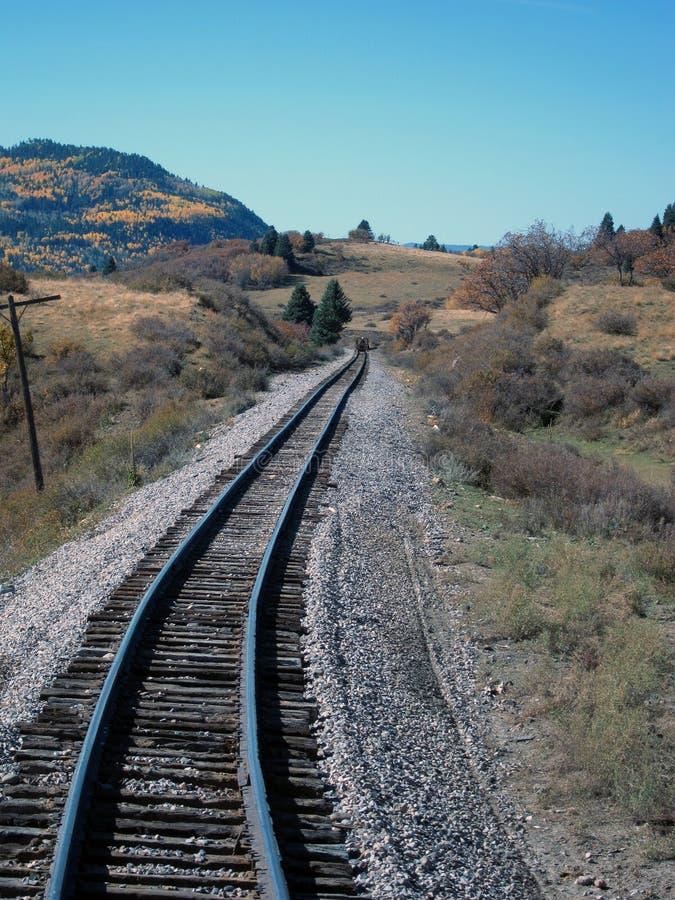 Colline degli alberi della tremula del binario ferroviario immagine stock libera da diritti
