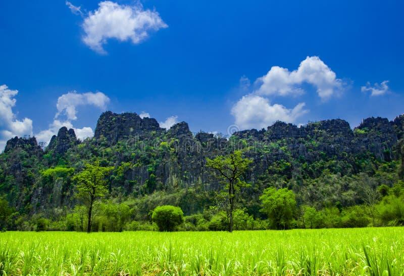 Colline di pietra e bello fondo del cielo blu nel paesaggio della campagna della Tailandia, Banmung, Noenmaprang, provincia di Pi fotografie stock