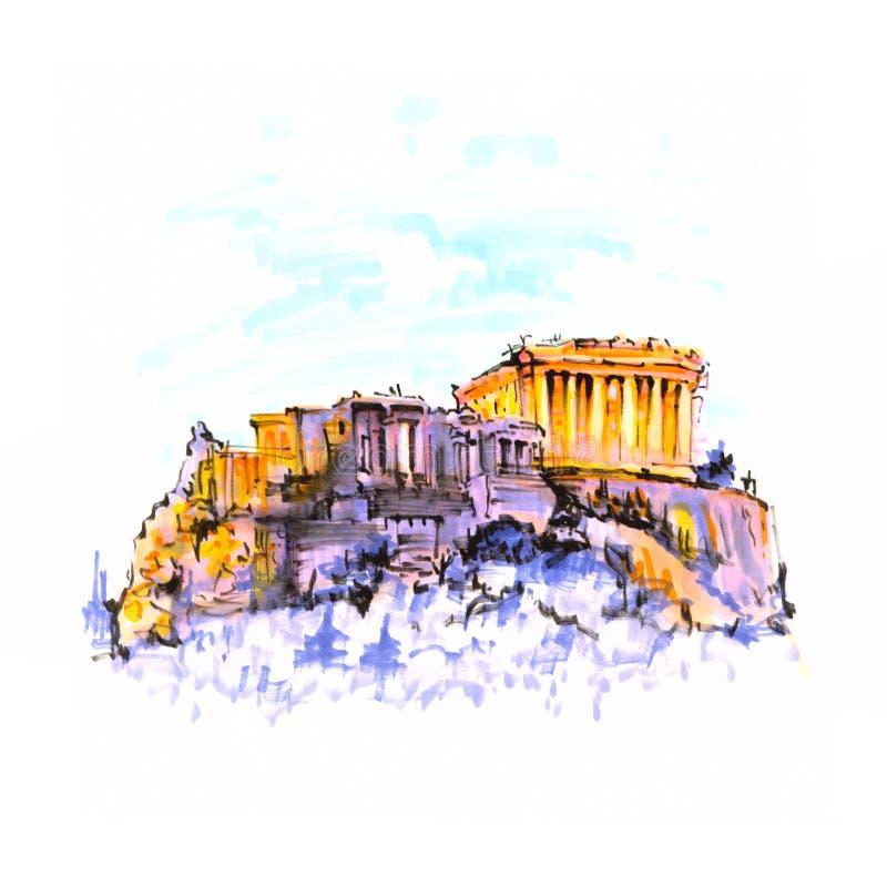 Colline et parthenon d'Acropole à Athènes, Grèce illustration stock