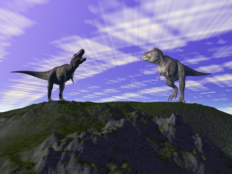 Colline grise et verte et dinosaure illustration libre de droits
