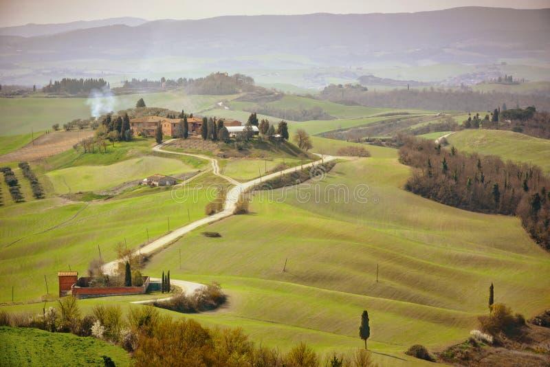 Colline toscane avec la rang?e des arbres de cypr?s et de la ferme Horizontal toscan l'Italie image libre de droits