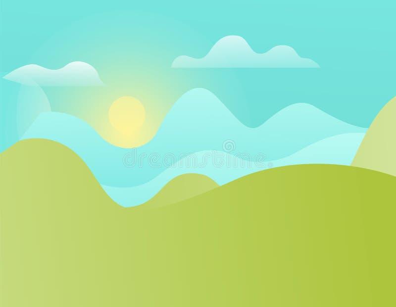 Colline verdi e cielo blu con il vettore brillante di Sun royalty illustrazione gratis