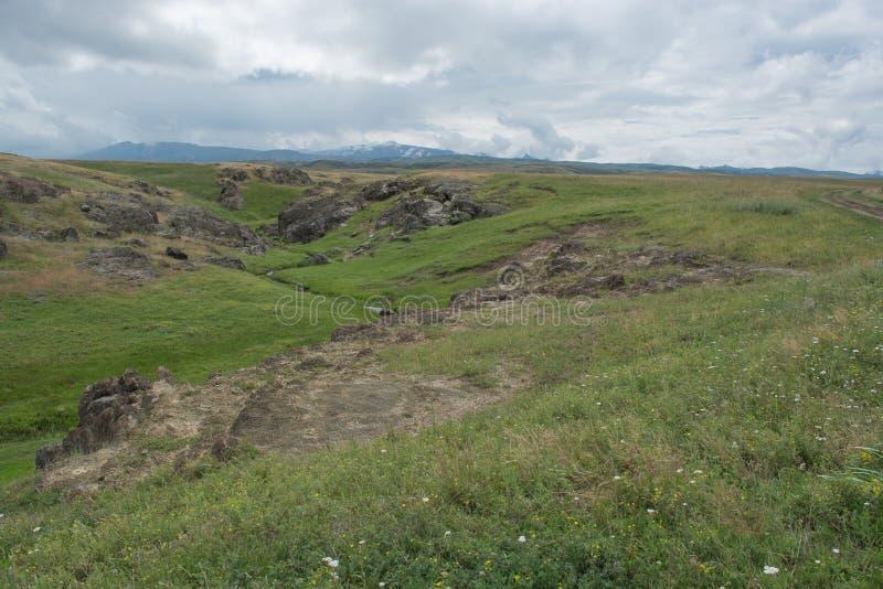 Colline verte et herbeuse Pr?s des roches de rivi?re Saison d'?t? nature images libres de droits