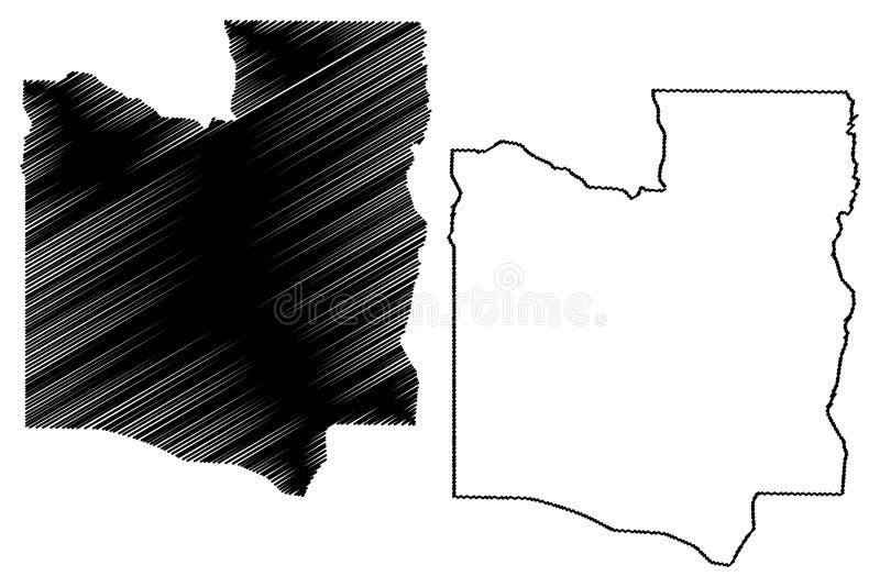 Collines-Abteilungs-Abteilungen von Benin, Republik Benin, Dahomey Karten-Vektorillustration, Gekritzelskizze Collines-Karte stock abbildung