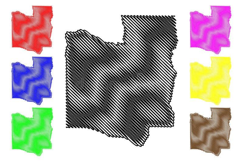 Collines-Abteilungs-Abteilungen von Benin, Republik Benin, Dahomey Karten-Vektorillustration, Gekritzelskizze Collines-Karte vektor abbildung