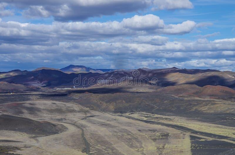 Collines de Colorfull Paysage de gisement géothermique près de lac Mvatmn, photos stock