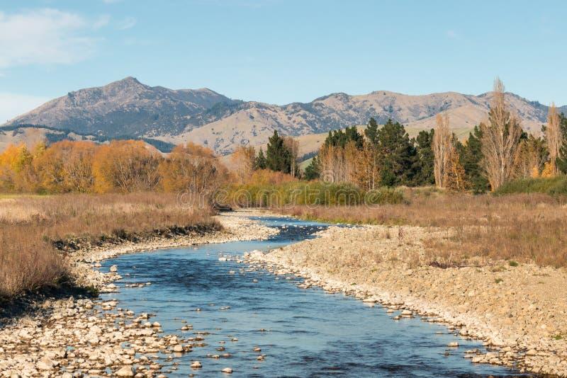 Collines de Wither avec Taylor River à Marlborough, Nouvelle-Zélande image stock