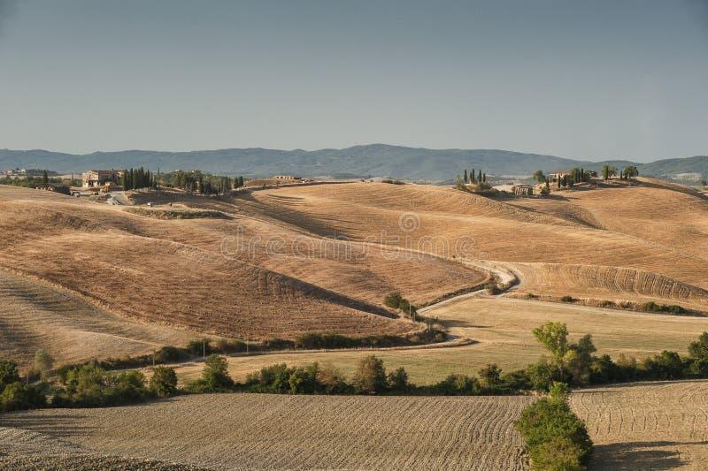 Collines toscanes labourées après le paysage toscan de récolte entre Sienne et Florence l'Italie image libre de droits