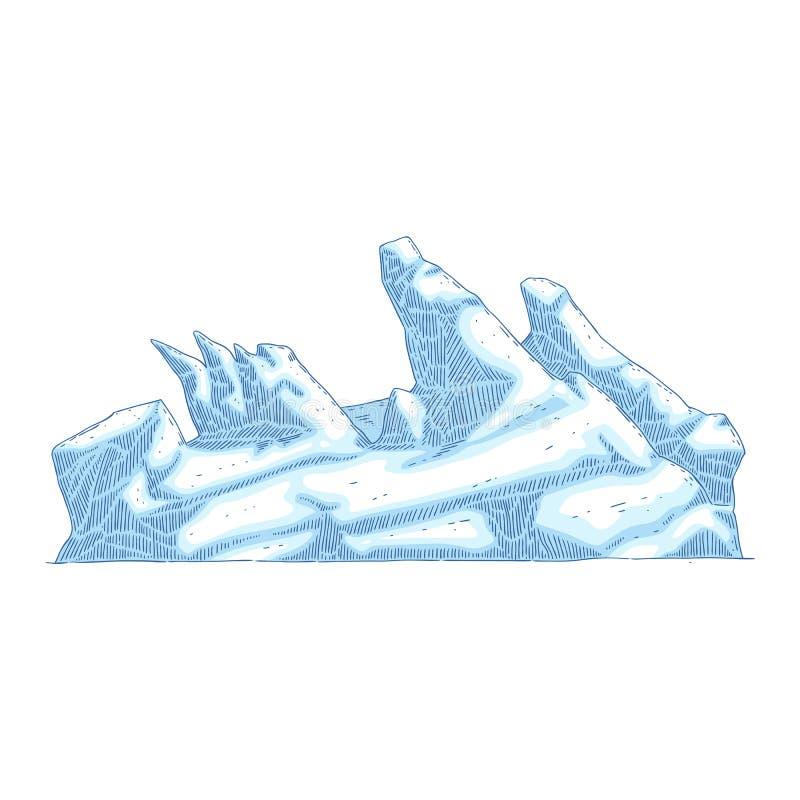 Collinetta del ghiaccio o montagna o roccia del ghiacciaio nello stile di schizzo illustrazione vettoriale