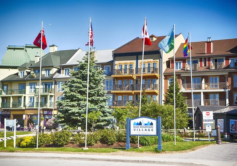 COLLINGWOOD, ON, CANADA - JUNE 16, 2019: Blue Mountain Village at summer time. Popular mountain resort and spa, Ontario royalty free stock photo