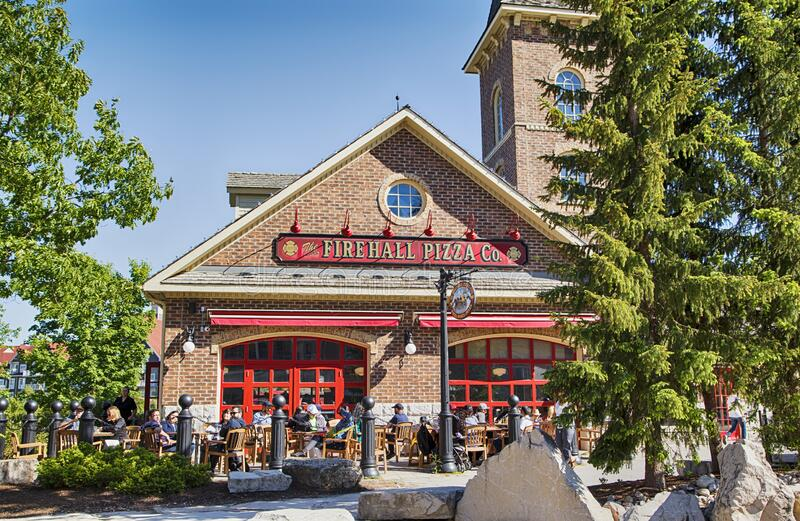 COLLINGWOOD, ON, CANADA - JUNE 16, 2019: Firehall Pizza Co in Blue Mountain Village at summer time. royalty free stock images
