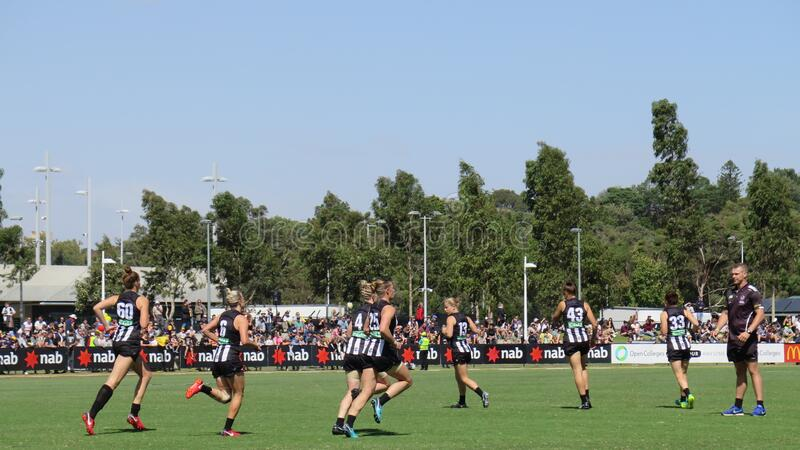 Collingwood Magpies players warming up before the game at Olympic Park Oval. Collingwood Magpies players warming up before starting the game at Olympic Park Oval stock photography