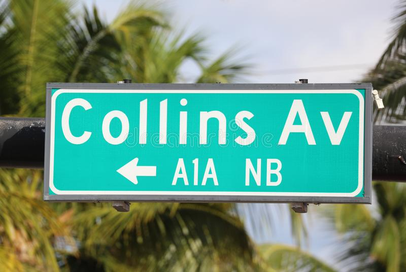 Collins Av green street sign at Miami beach Florida USA. Famous tourist destination summer break vacations royalty free stock photography