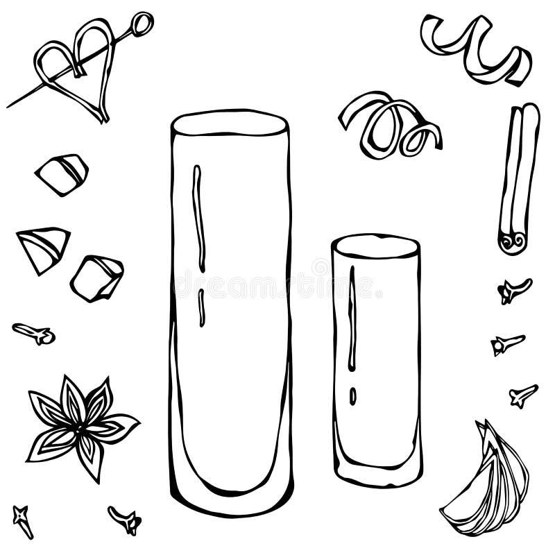 Collins Cocktail Glass Illustrazione disegnata a mano di vettore illustrazione di stock