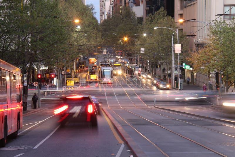 Collins Street Melbourne arkivfoton