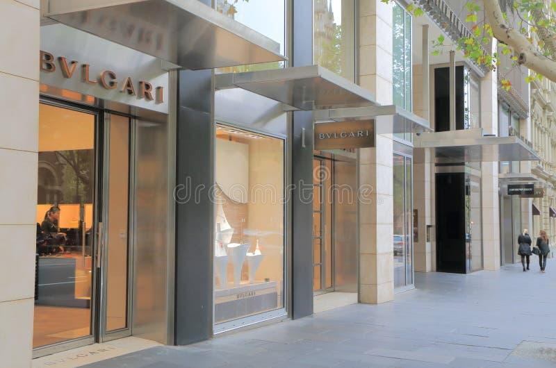 Collins Street Shopping-gebied Melbourne stock afbeeldingen