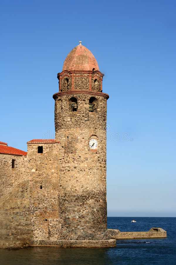 collioure堡垒 免版税库存照片