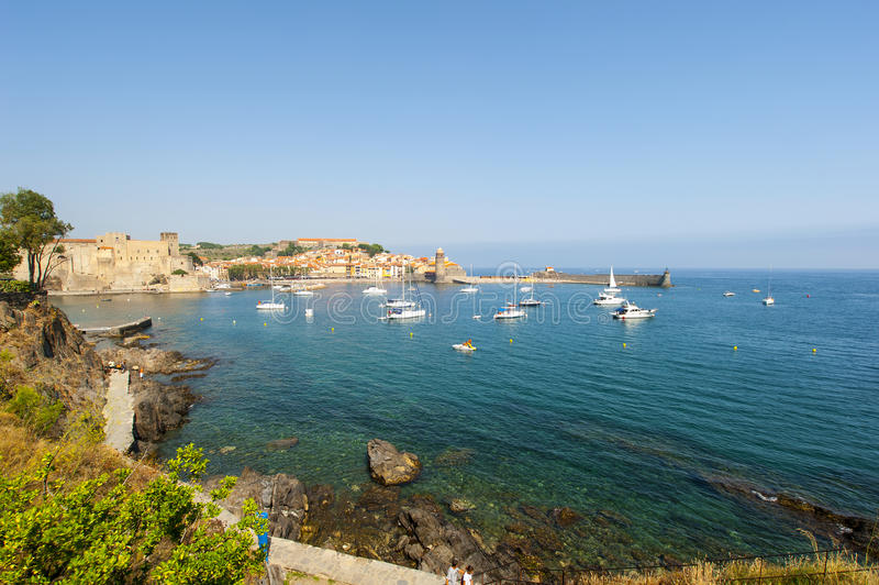 Collioure across the bay royalty free stock images