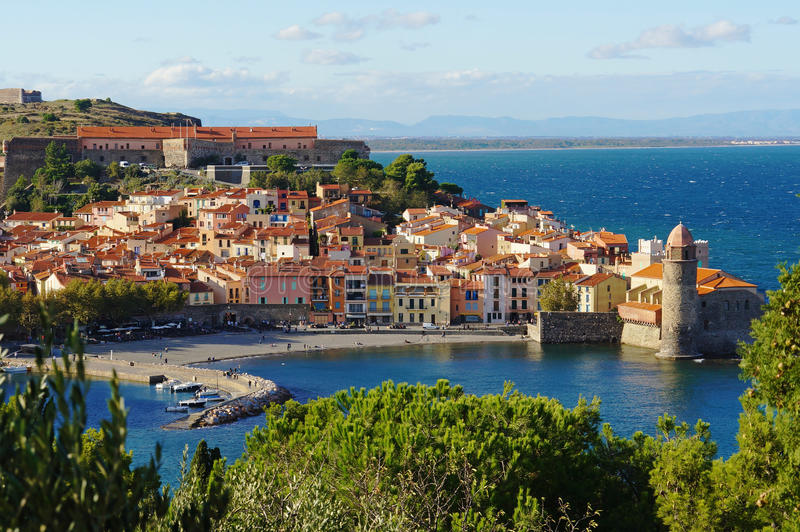 Collioure coastal village in France. Collioure, coastal village in the south of France, Mediterranean sea, Languedoc Roussillon, Pyrenees Orientales stock images