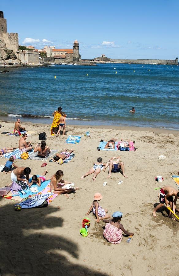 Collioure harbour castle beach stock photography