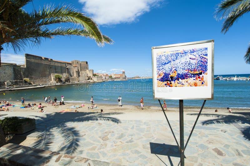 Collioure harbour beach castle stock images