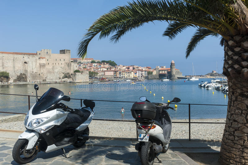 Collioure harbour castle stock photo