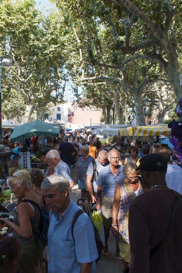 Street market Collioure stock image