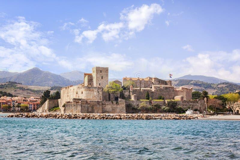 Collioure, südlich von Frankreich, das königliche Chateau lizenzfreies stockbild