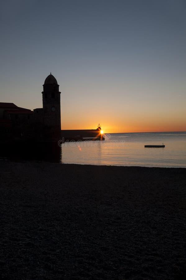 Sunrise Collioure stock image