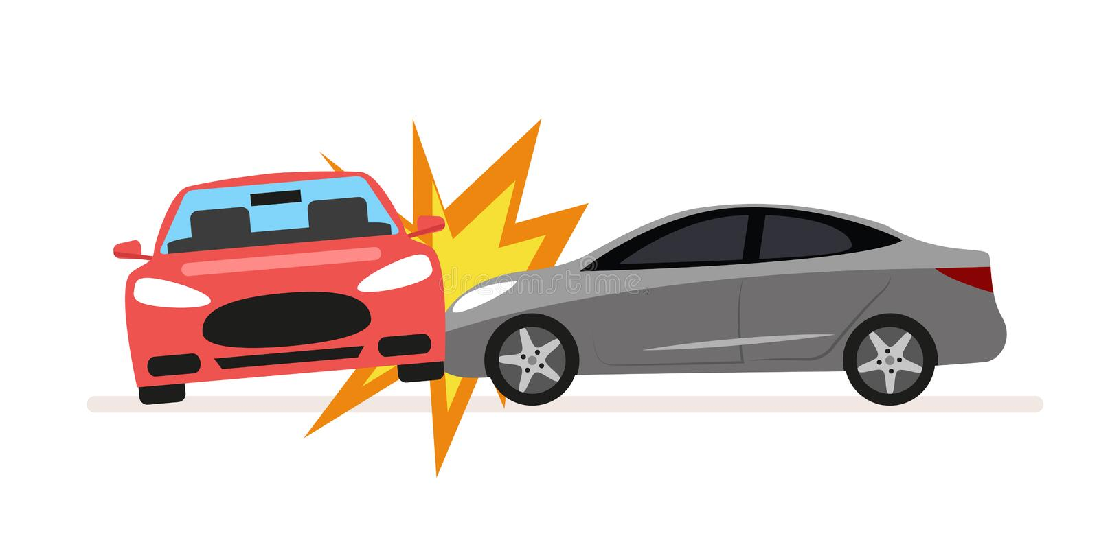 Collision of cars. Car crash involving two cars. A drunk or inconsiderate driver caused a serious traffic accident. Flat stock illustration